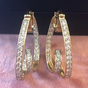 5ct Diamond Hoop Earrings set in 14KT Yellow Gold
